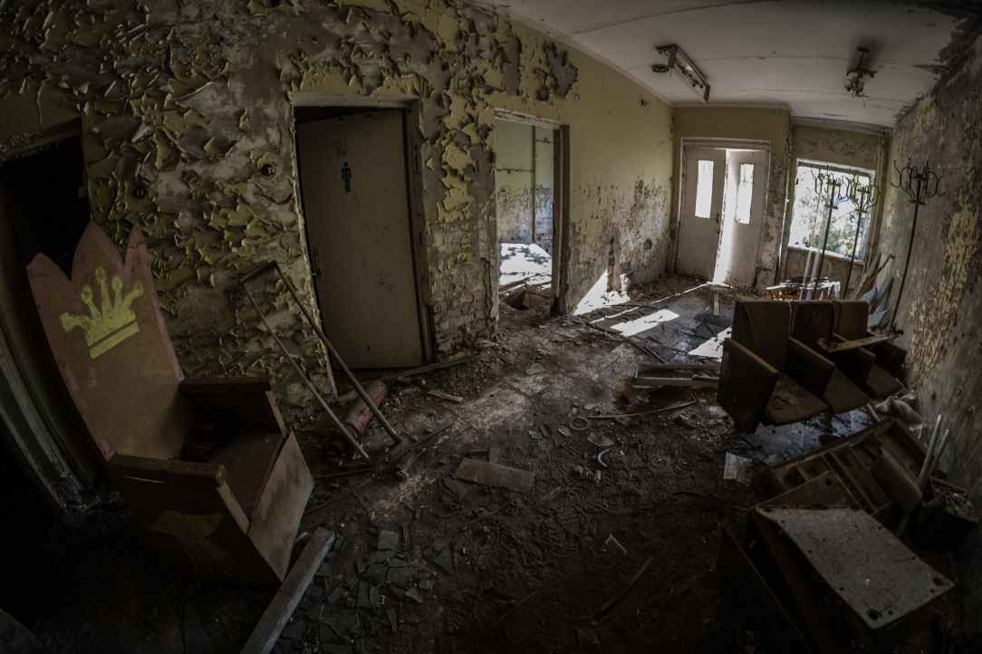 wrecked house interior