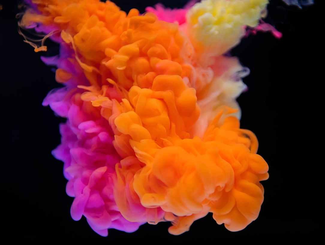 orange and pink smoke