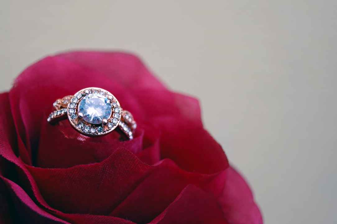 closeup photography of clear jeweled gold colored cluster ring on red rose