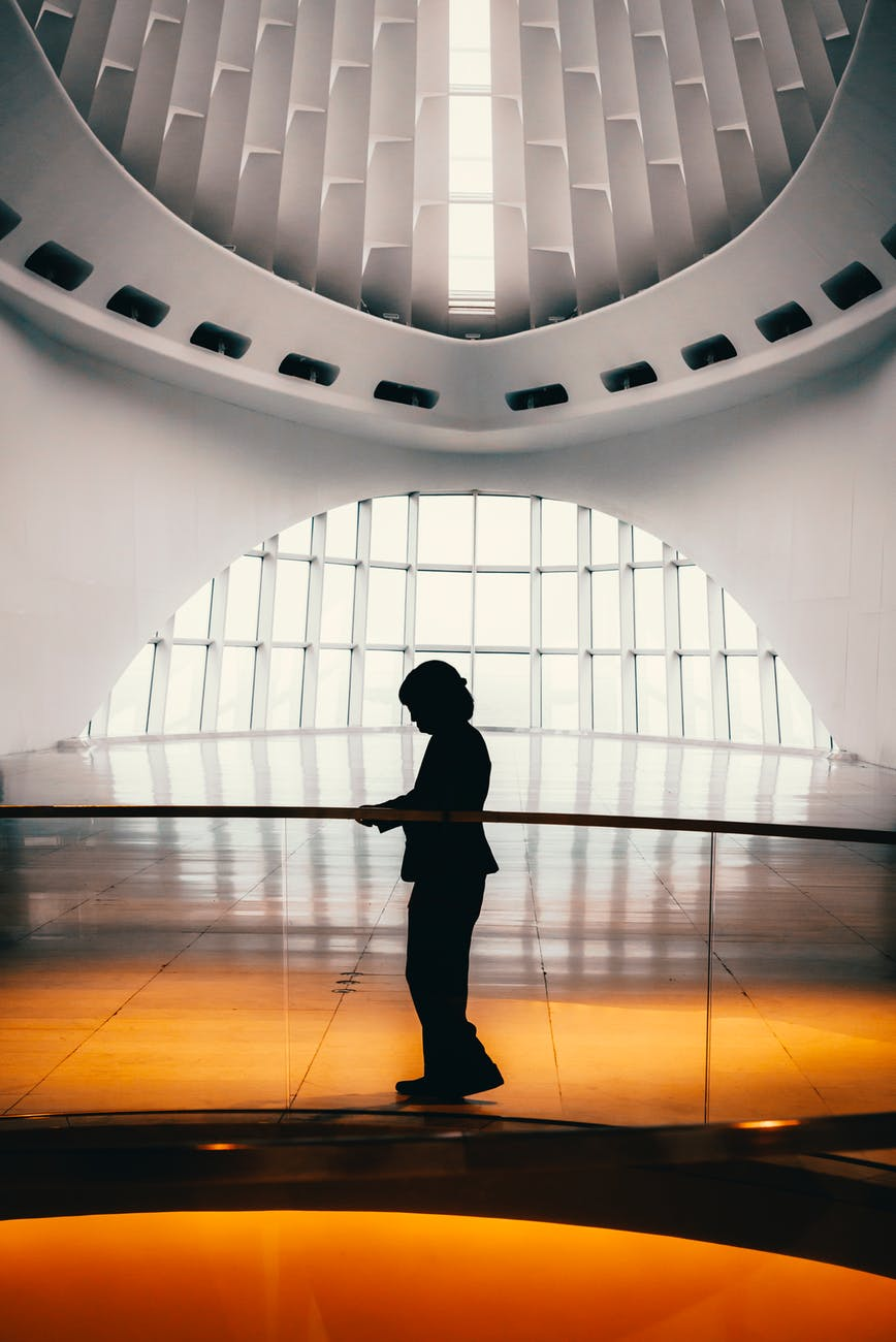 silhouette of person inside a building